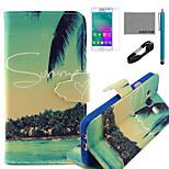 coco fun® zomer kokosnoot patroon pu lederen tas met v8 usb-kabel, flim en stylus voor de Samsung Galaxy a3