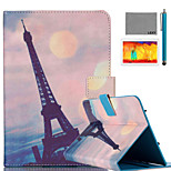 LEXY® Pink Sky Eiffel Pattern PU Leather Flip Stand Case with Screen Protector and Stylus for iPad Air 2/iPad 6