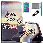 COCO FUN® Sunrise of Mountain Pattern PU Leather Case with V8 USB Cable, Flim and Stylus for Samsung Galaxy A3