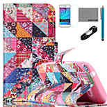 COCO FUN® Retro Flower Checks Pattern PU Leather Case with V8 USB Cable, Film and Stylus for Samsung Galaxy J1