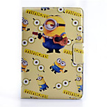 Persona pequeña amarilla subtítulos estuche protector patrón de la PU del soporte del tirón material para Mini iPad 1/2/3