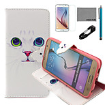 COCO FUN® White Cat Pattern PU Leather Case with V8 USB Cable, Film and Stylus for Samsung Galaxy S6