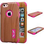Special Design Novelty Wood Grain Silicone PC Back Case for iPhone 6/6S(Assorted Colors)