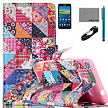 COCO FUN® Flower Checks Pattern PU Leather Case with V8 USB Cable Flim and Stylus for Samsung Galaxy Grand Prime G530