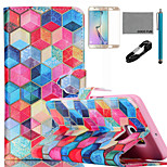 COCO FUN® Diamondcheck Pattern PU Leather Case with V8 USB Cable, Film and Stylus for Samsung Galaxy S6 Edge Plus