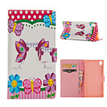 Butterfly Pattern Card Stand Leather Case for Sony Xperia Z3/Z4