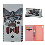 Cat  Pattern Card Stand Leather Case for Sony Xperia Z3/Z4