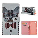 modello del gatto caso del basamento della carta di cuoio per Sony Xperia Z3 / z4