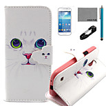 COCO FUN® White Cat Pattern PU Leather Case with V8 USB Cable, Flim and Stylus for Samsung Galaxy S4 MINI i9190