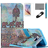 COCO FUN® Elephant Wall Painting Pattern PU Leather Case with V8 USB Cable, Flim, Stylus and Stand for Samsung Galaxy S6