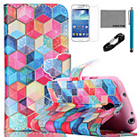 COCO FUN® Diamondcheck Pattern PU Leather Case with V8 USB Cable, Flim and Stylus for Samsung Galaxy S4 MINI i9190