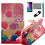 Coco Fun® patrón de globo de colores caja de cuero de la PU con el usb v8 cable, flim y lápiz para Samsung Galaxy Note 4