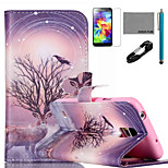 COCO FUN® Branch Antelope Pattern PU Leather Case with V8 USB Cable, Stylus and Stand for Samsung Galaxy S5 I9600