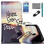 coco Fun® Sonnenaufgang Bergmuster PU-Lederetui mit V8-USB-Kabel, und Stylus für Samsung Galaxy S4 Mini i9190
