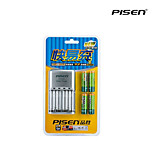 Pisen 4 Bay/Slot AA AAA Ni-MH Quick Battery Charger with Foldable AC Wall Plug and 4 2500mAh AA Batteries