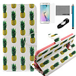 COCO FUN® Pineapple Pattern Pattern PU Leather Case V8 USB Cable, Flim, Stylus and Stand for Samsung Galaxy S6 edge