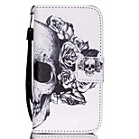 HZBYC®White Skull Pattern PU Material Card Lanyard Case for iPhone 4/4S
