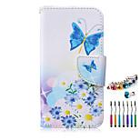 Schmetterling PU-Material-Telefonkasten Staubstecker Stylus-Stift-Kombination für Samsung-A3 / A5