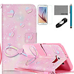 COCO FUN® Pink Romantic Pattern PU Leather Case with V8 USB Cable, Flim, Stylus and Stand for Samsung Galaxy S6