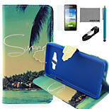 COCO FUN® Summer Coconut Pattern PU Leather Case with V8 USB Cable, Flim and Stylus for Samsung Galaxy A5