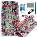 coco Fun® kleinen Blumenmuster PU-Lederetui mit V8-USB-Kabel, FLIM und Stylus für Samsung Galaxy S4 Mini i9190