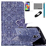 COCO FUN® Retro Pattern Pattern PU Leather Case with V8 USB Cable, Flim, Stylus and Stand for Samsung Galaxy S5 I9600