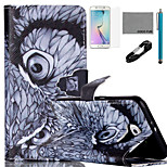 COCO FUN® Night Owl Pattern PU Leather Case with V8 USB Cable, Flim, Stylus and Stand for Samsung Galaxy S6 edge