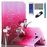 COCO FUN® Dandelion Pattern PU Leather Case with V8 USB Cable, Flim and Stylus for Samsung Galaxy Core Prime G360