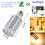 YouOKLight® 1PCS E27 12W 1000lm CRI>80 3000K 60*SMD5050 LED Light Superior quality Corn Bulb (AC200-265V)
