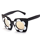 Women's 100% UV400 Round  Fashion Flowers Mirrored Sunglasses