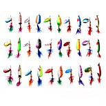 30pcs Metal Lure Spoon and Spinner Fishing Lure 3-13g with Hooks