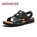 Aokang Men's Leather Sandals Blue