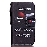 HZBYC®Do Not Touch Me Pattern PU Material Card Lanyard Case for iPhone 4/4S