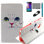 COCO FUN® White Cat Pattern PU Leather Case with V8 USB Cable, Flim and Stylus for Samsung Galaxy Note 4