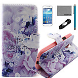 COCO FUN® Life Is Beautiful Pattern PU Leather Case with V8 USB Cable, Flim and Stylus for Samsung Galaxy S4 MINI i9190
