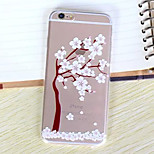 Cherry Blossom Tree Pattern Ultrathin Transparent TPU Soft Back Cover Case for iPhone 6S/6