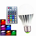 1pcs SchöneColors E26/E27 /B22 9W 3pcs High Power LED 550LM RGB A60 Dimmable /Remote-Controlled Globe Bulb AC110-240V