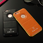 Luxury Genuine Leather Backplane and Metal Integrated Frame Case for iPhone 6S/6 Plus  (Assorted Colors)