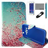 cielo Fun® Cocos estampado de flores caja roja de cuero de la PU con el usb v8 cable, flim y lápiz para Samsung G360 primer núcleo de la