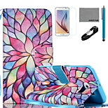 COCO FUN® Colorful Petal Pattern PU Leather Case with V8 USB Cable, Flim, Stylus and Stand for Samsung Galaxy S6