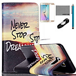 coco Fun® Sonnenaufgang Bergmuster PU-Lederetui mit V8-USB-Kabel, Film und Stylus für Samsung-Galaxie s6 Kante sowie