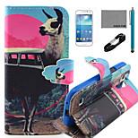 Coco Fun® antílope patrón bus caso de cuero de la PU con el usb v8 cable, flim y lápiz para mini i9190 Samsung Galaxy S4