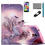 coco Fun® Zweig Antilopen-Muster PU-Lederetui mit V8-USB-Kabel, FLIM und Stylus für Samsung-Galaxie s5 Mini