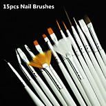 Nail Art kuas set, 15 pcs putih dekorasi gel, Pena lukisan, Peralatan profesional, Alat gambar
