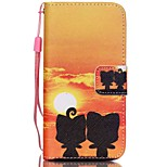 HZBYC®Sunset Cat Lovers Pattern PU Material Card Lanyard Case for iPhone 5C