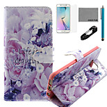 COCO FUN® Life Is Beautiful Pattern PU Leather Case with V8 USB Cable, Flim, Stylus and Stand for Samsung Galaxy S6 edge