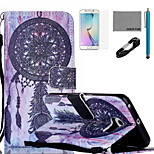 COCO FUN® Dreamcatcher Pattern PU Leather Case with V8 USB Cable, Flim, Stylus and Stand for Samsung Galaxy S6 edge
