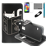 COCO FUN® Reading Cat Pattern PU Leather Case with V8 USB Cable, Flim and Stylus for Samsung Galaxy S5 MINI