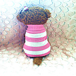 Dog Sweaters - XS / S / M - Winter - Pink / Rose - Striped - Mixed Material