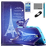 COCO FUN® Eiffel Tower Drawing Pattern PU Leather Case with V8 USB Cable, and Stylus for Samsung Galaxy S4 MINI i9190